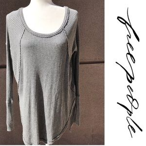 Free People grey thermal waffle knit long sleeve S